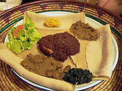 Injera meal (Source: Wikipedia)
