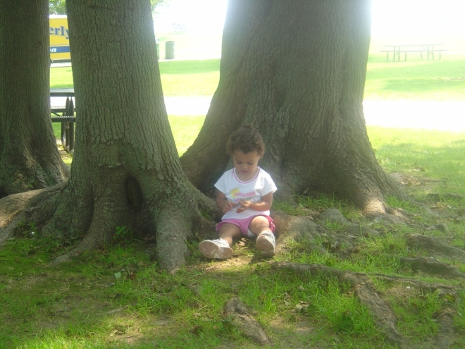 Rhema at age 2, listening to trees